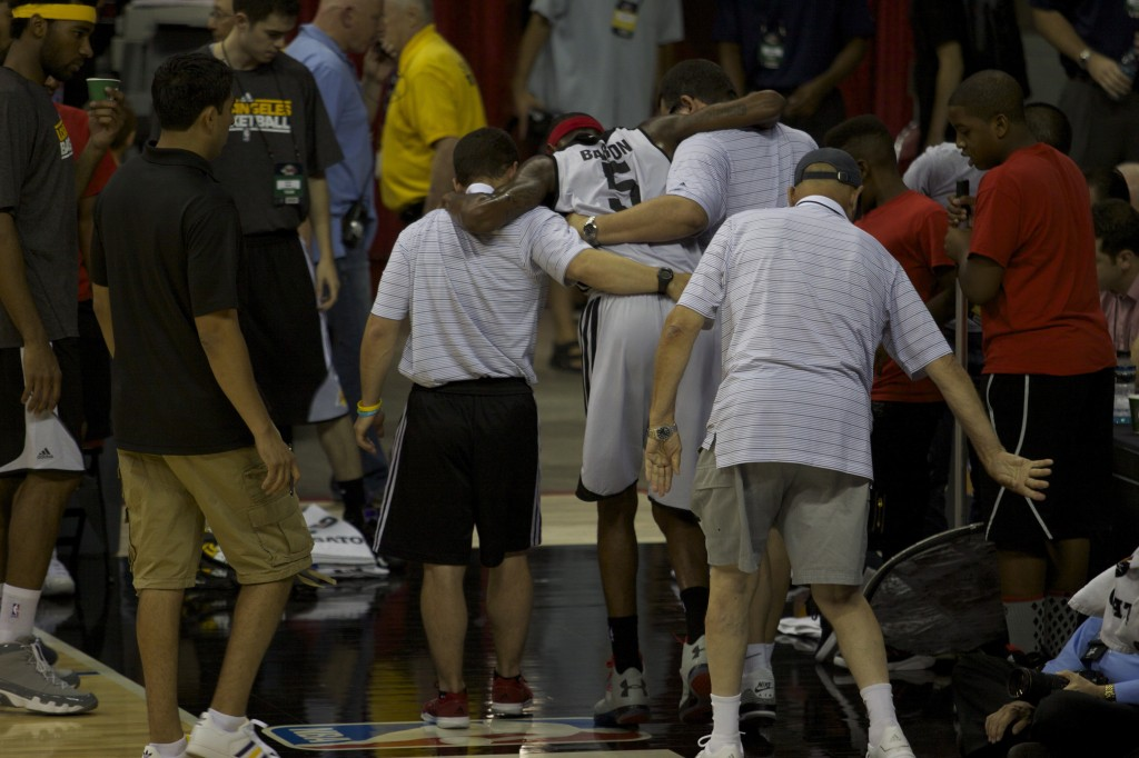 Will Barton being helped off the court. As you can see, it looked really bad.
